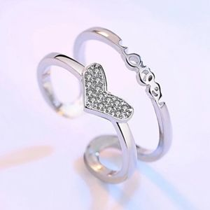 Sterling Silver Sparkly Heart Adjustable Ring